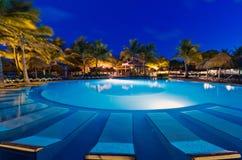 晚上热带池的游泳 免版税库存图片