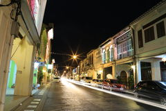 晚上老城镇 库存图片