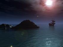 晚上船 库存图片