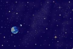 晚上行星天空 免版税库存图片
