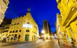 晚上街道在Castellon de la Plana。西班牙 库存图片