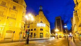 晚上街道在Castellon de la Plana,西班牙 免版税库存图片