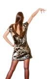 晚上衣服饰物之小金属片礼服的端庄的妇女 免版税库存照片
