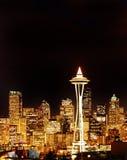 晚上西雅图地平线空间塔视图 图库摄影