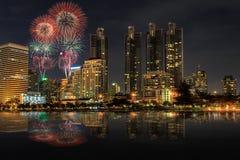 晚上视图在曼谷 免版税图库摄影