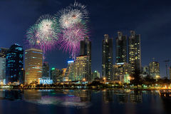 晚上视图在曼谷 免版税库存照片