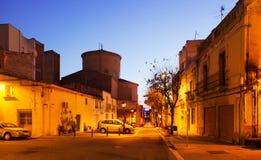 晚上视图在Sant阿德里亚de Besos 卡塔龙尼亚 库存照片