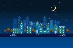晚上视图的纸城市 库存图片