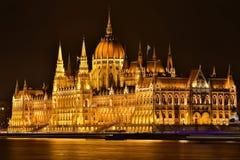 晚上议会布达佩斯 库存照片