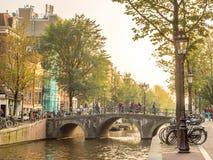 晚上阿姆斯特丹市场面 免版税库存图片