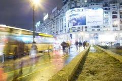 晚上雨雪业务量 免版税图库摄影
