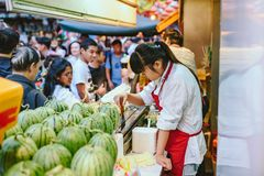 晚上食物市场在北京,中国 库存照片