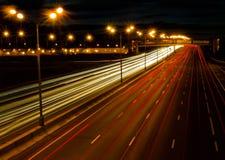 晚上高速公路 免版税库存图片