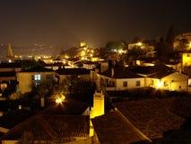 晚上obidos葡萄牙 库存图片