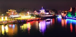 晚上qinhuai河场面 免版税库存照片