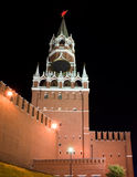 晚上spasskaya塔视图 免版税库存照片