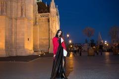 晚礼服的豪华妇女在去正式舞会党企业夫人时尚和秀丽的夜城市  有魅力的女孩 免版税库存图片