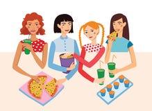 晚餐会与四个逗人喜爱的女朋友传染媒介例证的电影之夜 姜,浅黑肤色的男人,白肤金发和棕色毛发 向量例证