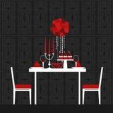晚餐在华伦泰` s天 也corel凹道例证向量 库存图片