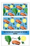 晚餐样式 鱼、柠檬和圆白菜 向量 免版税库存照片