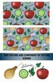 晚餐样式 Tomat, chiken和黄瓜 也corel凹道例证向量 免版税库存照片