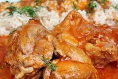 晚餐用肉和调味汁 库存图片