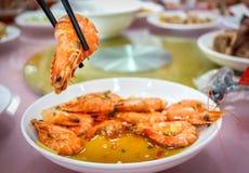晚餐的多汁虾 图库摄影