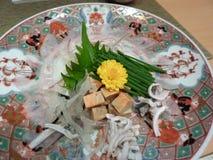 晚餐的府谷河豚在日本 免版税库存图片