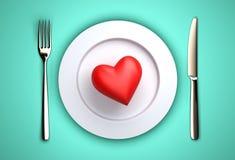 晚餐的心脏 免版税库存照片