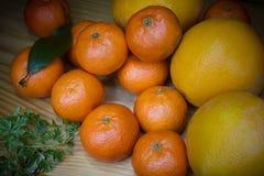 晚餐的水多的果子蜜桔 库存图片
