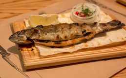 晚餐的鱼鳟鱼,在一块木板材 库存照片