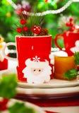 晚餐的Christmastime装饰 免版税库存照片
