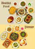 晚餐菜单食物题材设计的象集合 皇族释放例证