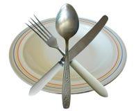晚餐被隔绝的碗筷集合 库存图片