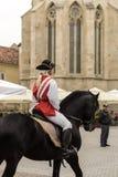 晨曲卡罗来纳州城堡的奥地利骑兵士兵 免版税库存照片