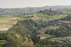 晨曲教会和皮耶蒙特葡萄园和小山在春天,意大利 免版税图库摄影