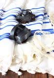 晨祷披巾- Tallit,犹太宗教标志 库存图片