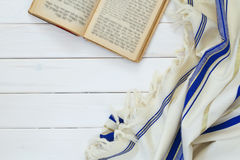 晨祷披巾- Tallit,犹太宗教标志 免版税库存图片