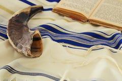 晨祷披巾- Tallit,犹太宗教标志 库存照片