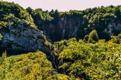 普利特维采湖群国家公园,克罗地亚瀑布  库存图片