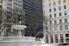 普利策喷泉在冬天 图库摄影