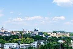 普劳恩全景都市风景在萨克森Erzgebirge德国 库存图片