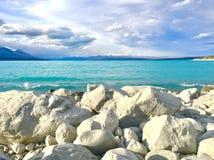 普卡基湖新西兰库克山绿松石水  免版税库存照片