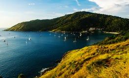 普吉岛与日落的颜色的观点,泰国 库存照片