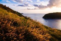 普吉岛与日落的颜色的观点,泰国 免版税库存图片