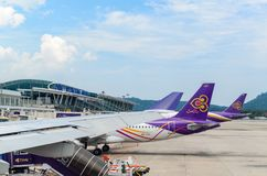 普吉岛国际机场,普吉岛,泰国- 2018年5月11日:Tha 库存照片