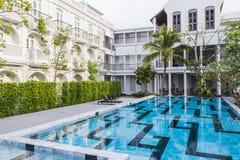 普吉岛,泰国- 2017年4月19日:小的Nyonya旅馆,美丽的中葡萄牙样式旅馆 免版税库存图片