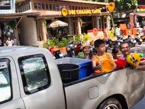 普吉岛,泰国- 2017年4月13日:泰国佛教新年的庆祝- Songkran 免版税图库摄影
