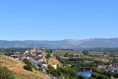 普埃夫拉德萨纳夫里亚中世纪镇的高的看法和 库存图片