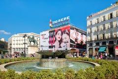 普埃尔塔del Sol在马德里,西班牙首都的最知名的地方 免版税库存照片
